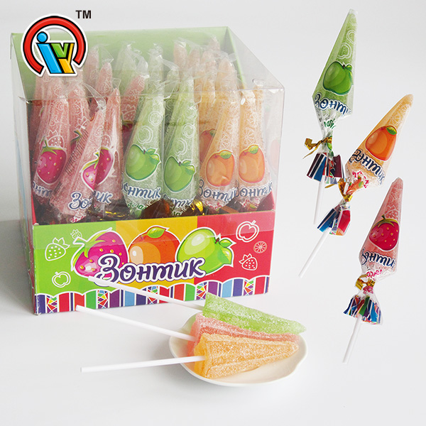 umbrella shape fruity chewing gummy lollipop candy